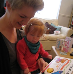 My daughter and copywriting inspiration being read a story